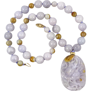 """Mason Kay Certified Lavender and Golden Jade Carved Dragon and 14K Necklace 23"""""""