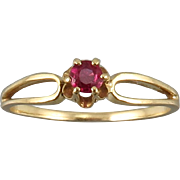 Edwardian 14K Natural Red Ruby Ring