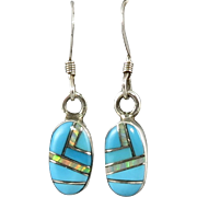 Navajo Turquoise with Inlaid Opal Sterling Dangle Earrings