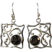 Smoky Quartz and FIligree Square Dangle Earrings