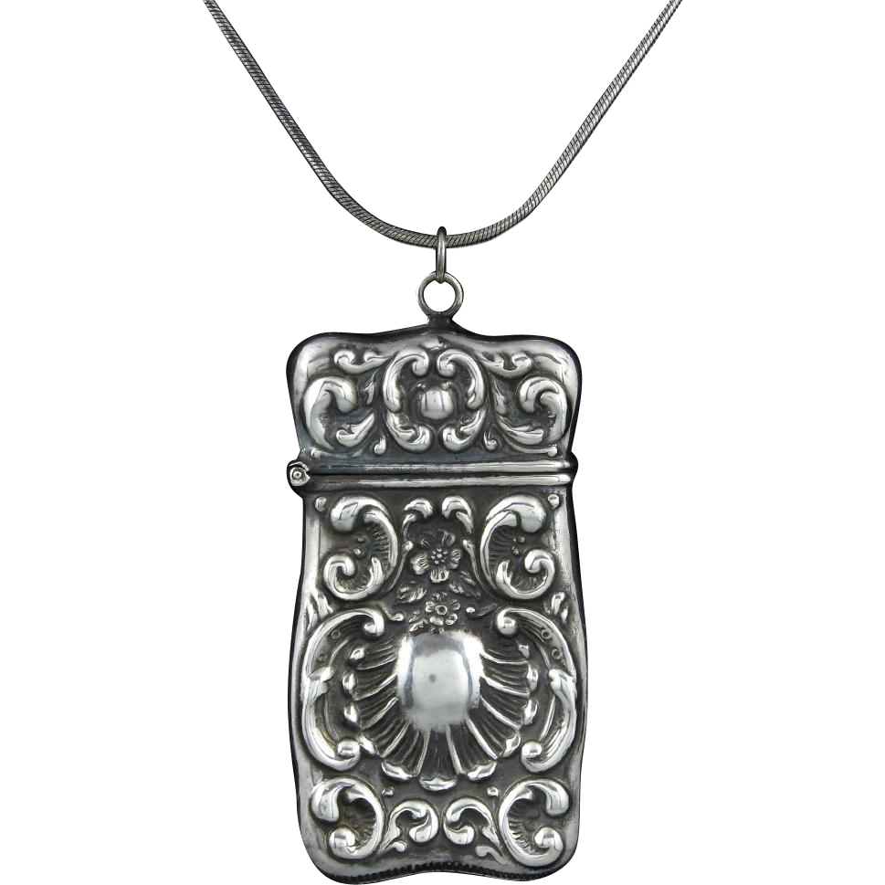 Sterling Repousse Match Safe Pendant Necklace 30""