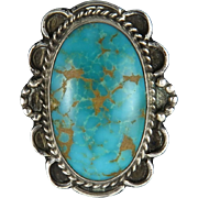 Old Pawn Royston Turquoise and Sterling Silver Handmade Ring