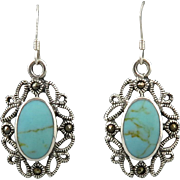 Turquoise and Marcasite Filigree Dangle Earrings