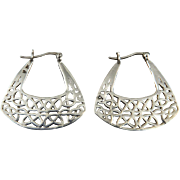 Silver Openwork Fan Shaped Hoop Earrings