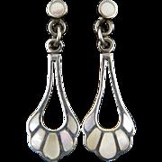 Elegant Mother of Pearl Dangle Sterling Silver Earrings