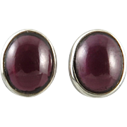 Large Rhodolite Garnet and Sterling Silver Earrings
