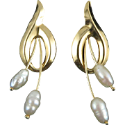 14K Fresh Water Cultured Pearl Earrings