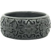 Wide Carved Asian Black Cinnabar Cuff Bangle
