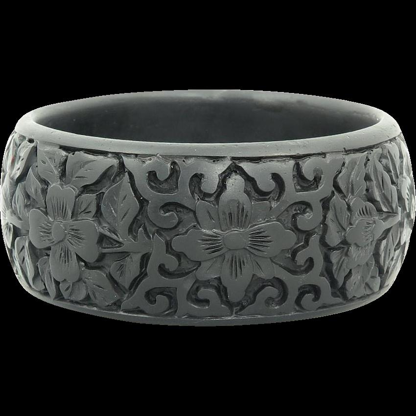 Wide Carved Black Cinnabar Cuff Bangle