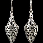 Long Open Work Puffy Dangle Sterling SIlver Earrings