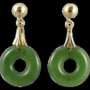 14K Green Jade Donut Dangle Earrings