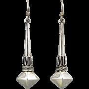 Long Etruscan Style Dangle Sterling Silver Earrings