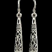 Sterling Open Work Cone Shaped Dangle Earrings