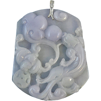 Chinese Carved Lavender and Blue Green Jade Dragon Pendant