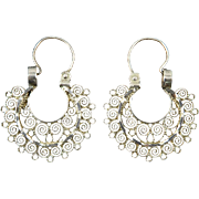 Lacy Sterling Silver Filigree Hoops