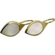 Mother of Pearl and Vermeil Modernist Design Earrings