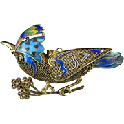 Chinese Export Enamel Gilt Silver Bird Brooch Pendant