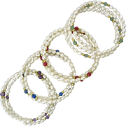 Set of 4 Gemstone and Freshwater Cultured Pearl Bracelets