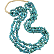 3 Strand Natural Turquoise Nugget Necklace 28""
