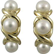 14K Gold and Cultured Button Pearl Kiss and Hug Earrings