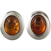 Large Baltic Honey Amber and Sterling Silver Earrings