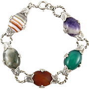 Sterling Silver Multi Color Scottish Agate and Gemstone Bracelet