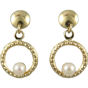 14K Delicate Cultured Pearls in Circles Dangle Earrings