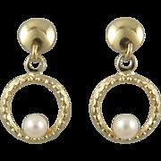 14K Delicate Cultured Pearls in Circles Dangle Earrings