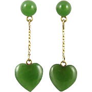 14K Jadeite Jade Heart Dangle Earrings