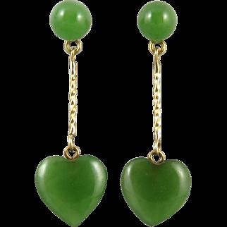 14K Jadeite Jade Heart Dangle Earrings
