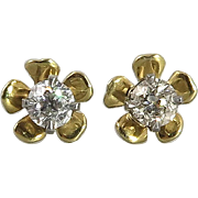 1/2ctw Diamond and 14K Flower Earrings