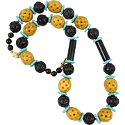 Carved Chinese Yellow Jade Black Onyx and Turquoise Necklace 26""