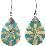 Shell and Enamel Sterling Silver Dangle Earrings