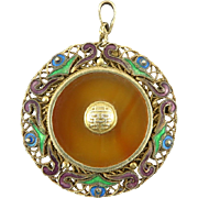 Chinese Translucent Carnelian Enamel on Gilt Silver Export Pendant