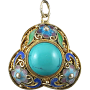 Chinese Export Turquoise Gilt Silver Enamel Pendant