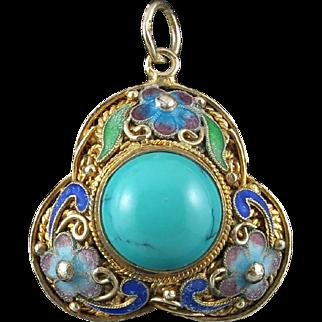 Chinese Export Turquoise Gilt Silver Enamel Pendant