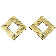 14K Diamond and Textured Gold Earrings