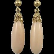 14K Angel Skin Coral Pendant Earrings