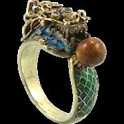 Gilded Silver Enamel Dragon Chinese Ring