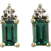 14K Diamond and Lab Emerald Earrings 1/3ctw.