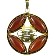 Chinese Carnelian and Gilded Silver Double Joy Pendant