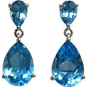 6.5ctw Pear Cut Blue Topaz Dangle Earrings in 14K White Gold