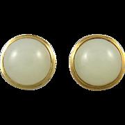 14K Hetian White Jade Button Earrings