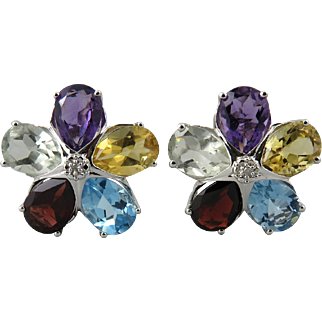 22ctw Sparkling Diamond and Multi Gemstone Omega Back Earrings in Sterling Silver