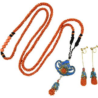 Spectacular Mandarin Court Necklace Kingfisher and Coral with Matching Earrings
