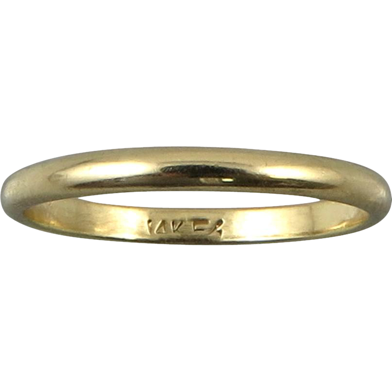 14K Gold Wedding Band 2mm Lady's Ring Size 5.75