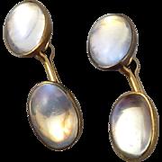Victorian 14K Ceylon Moonstone and Rose Gold Cufflinks
