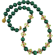 Malachite Carnelian and Hand Enameled Vermeil Bead Necklace 20""