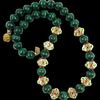 "Malachite Carnelian and Hand Enameled Vermeil Bead Necklace 20"""