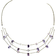 Sterling 3 Tier Amethyst and Rose Quartz Necklace